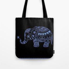 Blue Tones Faux Glitter Cute Elephant Tote Bag