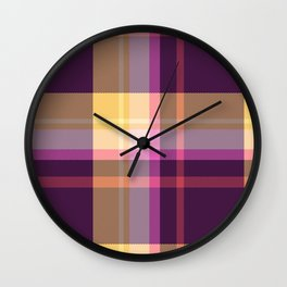 Pink Yellow Blue Tartan Plaid Wall Clock