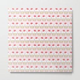 Cherry Cupcakes - Pink Doodle Pattern Metal Print