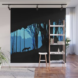 Fox in the woods silhouette Wall Mural