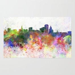 Hartford skyline in watercolor background Rug