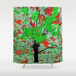 TREE RED AND GREEN LEAF Shower Curtain