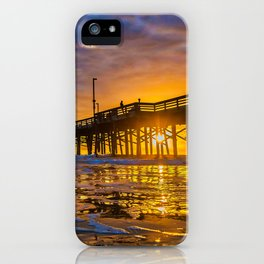 Low Angle Sunset at Newport Pier iPhone Case