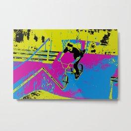 """Hitting the Ramp"" - BMX Biker Metal Print"