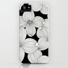 Dogwood Floral Linear: Ivory on Black  iPhone (5, 5s) Slim Case
