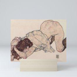 KNEELING GIRL, RESTING ON BOTH ELBOWS - EGON SCHIELE Mini Art Print