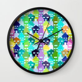 Colorful houses Wall Clock