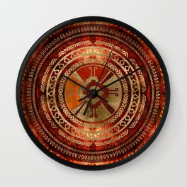 Hunab Ku Mayan symbol Burnt Orange and Gold Wall Clock