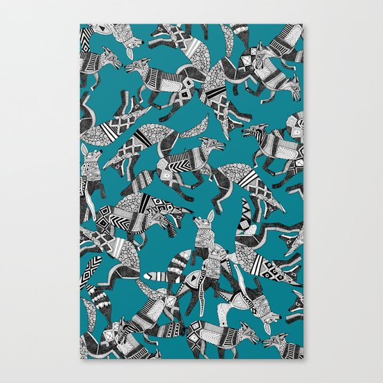 woodland fox party teal blue Canvas Print