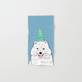 Samoyed with Party Hat Hand & Bath Towel