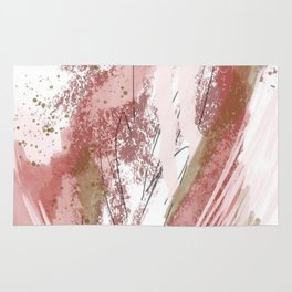 Sugar and Spice: a minimal, abstract mixed-media piece in pink and brown by Alyssa Hamilton Art Rug