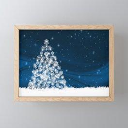 Blue Christmas Eve Snowflakes Winter Holiday Framed Mini Art Print
