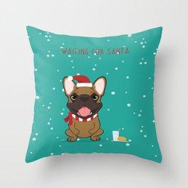 French Bulldog Waiting for Santa - Fawn edition Throw Pillow