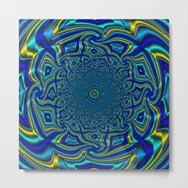 Wave Mandala - Aqua Metal Print