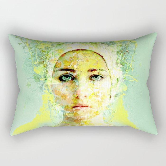 floral woman Rectangular Pillow