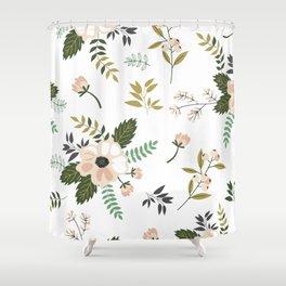Winter floral - snowy blush petals Shower Curtain