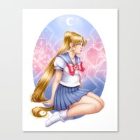 sailormoon Canvas Prints featuring Sailor moon by Roots-Love