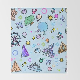 Happy Place on Earth Blue Pattern Throw Blanket