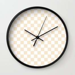 Small Checkered - White and Champagne Orange Wall Clock