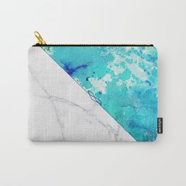 Teal watercolor paint splatters white marble Carry-All Pouch