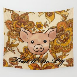 Retro Floral Piggy Wall Tapestry