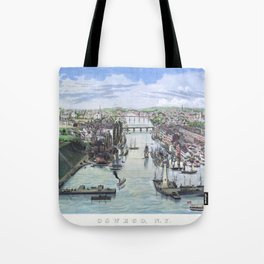 OSWEGO NEW YORK city old map Father Day art print poster Tote Bag