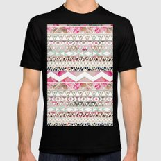 Aztec Spring Time! | Girly Pink White Floral Abstract Aztec Pattern Mens Fitted Tee MEDIUM Black