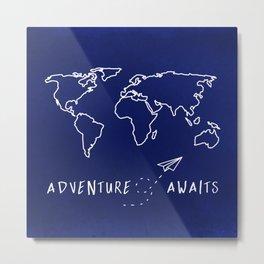 Adventure Map - Navy Blue Metal Print