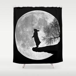 Moon Bunny - Black & White Shower Curtain