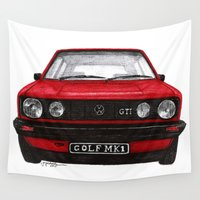golf Wall Tapestries featuring Golf Mk1 by Jorge Antunes