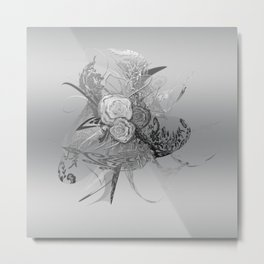 50 Shades of lace Silver Silver Metal Print