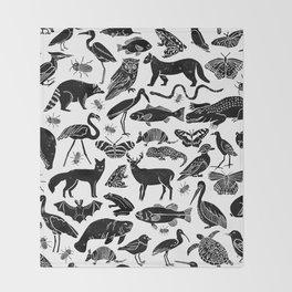 Linocut animals nature inspired printmaking black and white pattern nursery kids decor Throw Blanket
