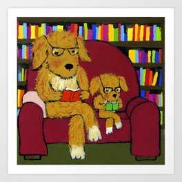 Reading dogs Art Print
