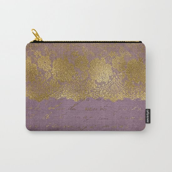 Romantic Bridal lace - Gold floral elegant lace on old purple paper Carry-All Pouch