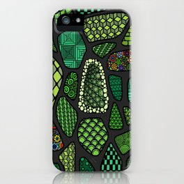 Patterned green stone floor iPhone Case