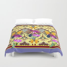 Decorative Cream Color & Fuchsia Morning Glories Floral Yellow Butterflies Duvet Cover
