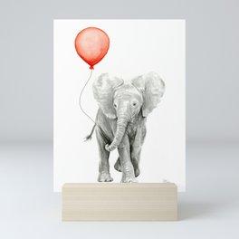 Baby Elephant Watercolor Red Balloon Nursery Decor Mini Art Print