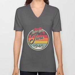 Vintage 80s June 1945 75th Birthday Gift Idea Unisex V-Neck