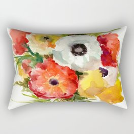 Flowers, Buttercups, orange, red, white, yellow Rectangular Pillow