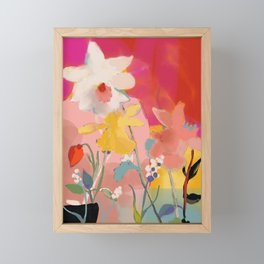 blooming abstract pink Framed Mini Art Print