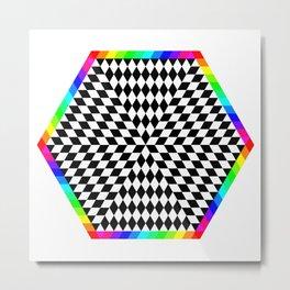 6 Color Rainbow Chessboard Hexagon Metal Print