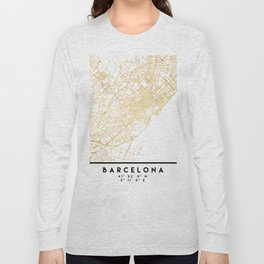 BARCELONA SPAIN CITY STREET MAP ART Long Sleeve T-shirt