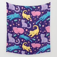 kittens Wall Tapestries featuring Playful Kittens Pattern by Noonday Design