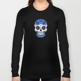 Sugar Skull with Roses and Flag of Nicaragua Long Sleeve T-shirt
