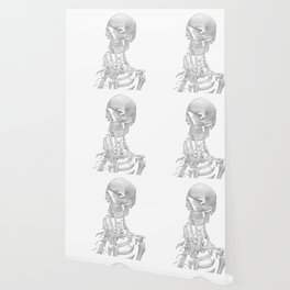 Thinking Skeleton (Black and White) Wallpaper