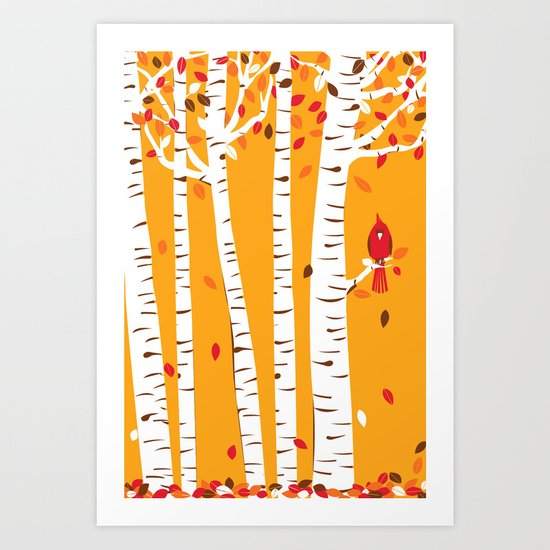 Autumn Cardinal Wall Art Art Print