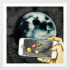 Snapchat the moon Art Print