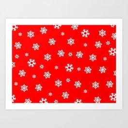 Snowflakes (White on Red) Art Print