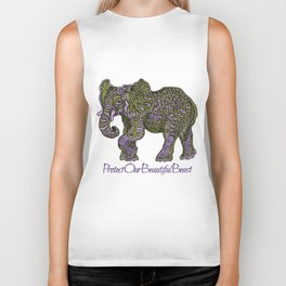 Elephant~ the beautiful beast Biker Tank
