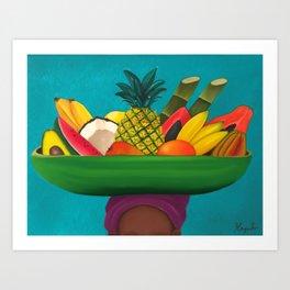 Tropical Fruit Basket Art Print
